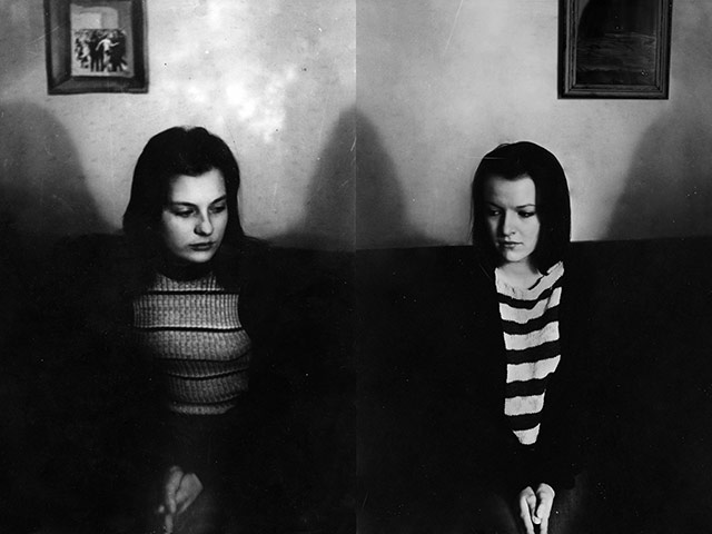 black and white photo of mother and daughter